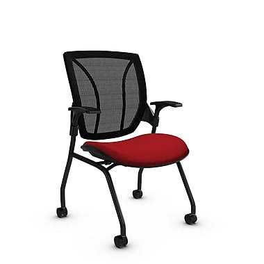 Global® (1899 IM74 MB) Roma Mesh Guest & Reception Chair, Imprint Candy Apple Fabric, Red w/ Black Mesh