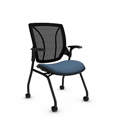 Global® (1899 IM75 MB) Roma Mesh Guest & Reception Chair, Imprint Ocean Fabric, Blue w/ Black Mesh