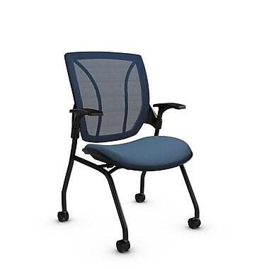 Global® (1899 IM75 SB) Roma Mesh Guest & Reception Chair, Imprint Ocean Fabric, Blue w/ Blue Mesh