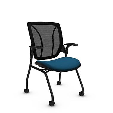 GlobalMD – Chaise de réception et d'invité en filet Roma (1899 IM76 MB), tissu Imprint bleu marine, bleu