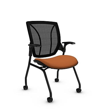 Global® (1899 IM81 MB) Roma Mesh Guest & Reception Chair, Imprint Paprika Fabric, Orange