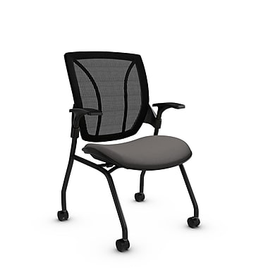 Global® (1899 IM82 MB) Roma Mesh Guest & Reception Chair, Imprint Graphite Fabric, Grey w/ Black Mesh