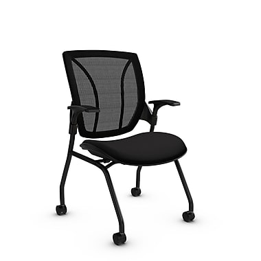 Global® (1899 IM84 MB) Roma Mesh Guest & Reception Chair, Imprint Licorice Fabric, Black