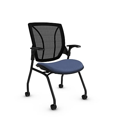 Global® (1899 MT25 MB) Roma Mesh Guest & Reception Chair, Match Blue Fabric, Blue w/ Black Mesh
