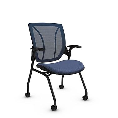 Global® (1899 MT25 SB) Roma Mesh Guest & Reception Chair, Match Blue Fabric, Blue w/ Blue Mesh