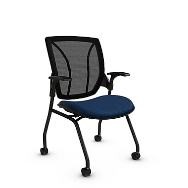 Global® (1899 MT26 MB) Roma Mesh Guest & Reception Chair, Match Wave Fabric, Blue