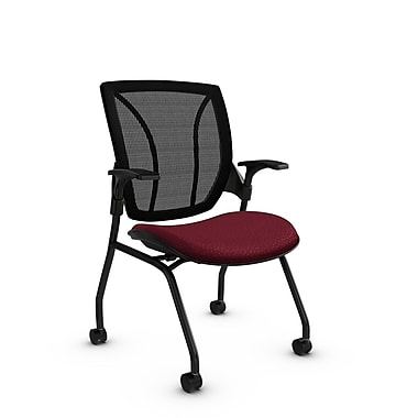 Global® (1899 MT29 MB) Roma Mesh Guest & Reception Chair, Match Burgundy Fabric, Red w/ Black Mesh