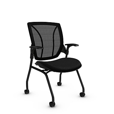 Global® (1899 MT32MB) Roma Mesh Guest & Reception Chair, Match Black Fabric, Black