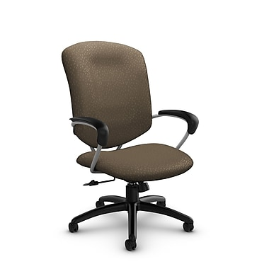 GlobalMD – Fauteuil à dossier haut inclinable Supra (5330-4 MT21), tissu assorti sable, brun