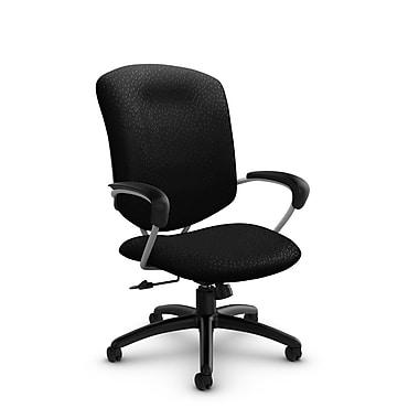 Global – Chaise de bureau inclinable avec dossier haut, tissu noir, noir