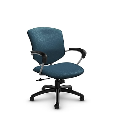 Global – Chaise de bureau inclinable mi-dos Supra (5331-4 MT33), tissu arctique, bleu