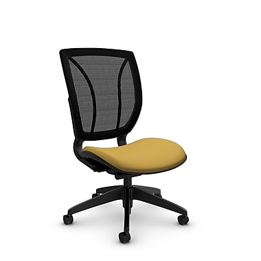 Global® (1901 IM73 MB) Roma Armless Posture Office Chair, Imprint Currie Fabric, Yellow