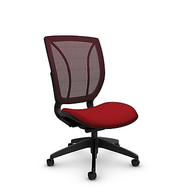 Global® (1901 IM74 FB) Roma Armless Posture Office Chair, Imprint Candy Apple Fabric, Red w/ Red Mesh