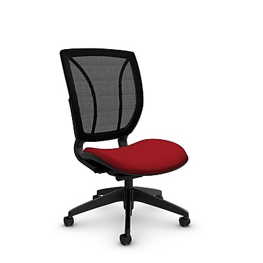 Global® (1901 IM74 MB) Roma Armless Posture Office Chair, Imprint Candy Apple Fabric, Red w/ Black Mesh