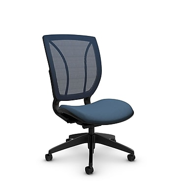 Global® (1901 IM75 SB) Roma Armless Posture Office Chair, Imprint Ocean Fabric, Blue w/ Blue Mesh