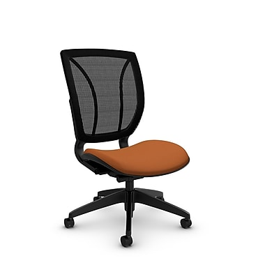 Global® (1901 IM81 MB) Roma Armless Posture Office Chair, Imprint Paprika Fabric, Orange