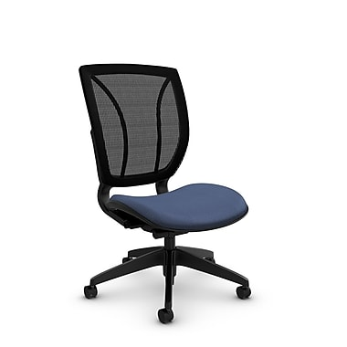 Global® (1901 MT25 MB) Roma Armless Posture Office Chair, Match Blue Fabric, Blue w/ Black Mesh