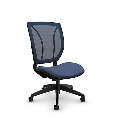 Global® (1901 MT25 SB) Roma Armless Posture Office Chair, Match Blue Fabric, Blue w/ Blue Mesh