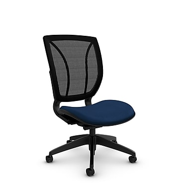Global® (1901 MT26 MB) Roma Armless Posture Office Chair, Match Wave Fabric, Blue