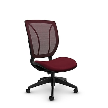 Global® (1901 MT29 FB) Roma Armless Posture Office Chair, Match Burgundy Fabric, Red w/ Red Mesh