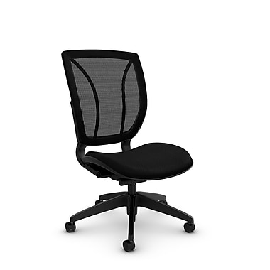 Global® (1901 MT32 MB) Roma Armless Posture Office Chair, Match Black Fabric, Black
