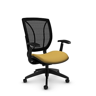 Global® (1906 IM73 MB) Roma Posture with Arms Office Chair, Imprint Currie Fabric, Yellow