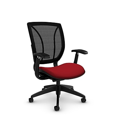 Global® (1906 IM74 MB) Roma Posture with Arms Office Chair, Imprint Candy Apple Fabric, Red