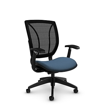 Global® (1906 IM75 MB) Roma Posture with Arms Office Chair, Imprint Ocean Fabric, Blue
