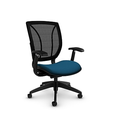 Global® (1906 IM76 MB) Roma Posture with Arms Office Chair, Imprint Navy Fabric, Blue