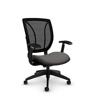 Global® (1906 IM82 MB) Roma Posture with Arms Office Chair, Imprint Graphite Fabric, Grey