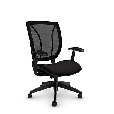 Global® (1906 IM84 MB) Roma Posture with Arms Office Chair, Imprint Licorice Fabric, Black