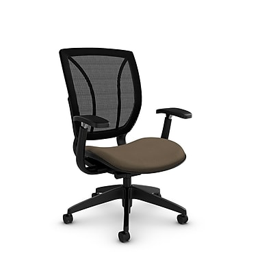 Global® (1906 MT21 MB) Roma Posture with Arms Office Chair, Match Sand Fabric, Brown
