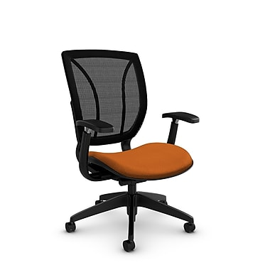 Global® (1906 MT23 MB) Roma Posture with Arms Office Chair, Match Orange Fabric, Orange