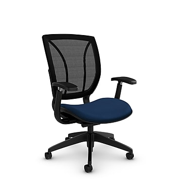 Global® (1906 MT26 MB) Roma Posture with Arms Office Chair, Match Wave Fabric, Blue