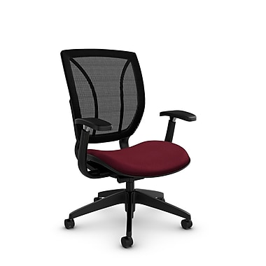 Global® (1906 MT29 MB) Roma Posture with Arms Office Chair, Match Burgundy Fabric, Red