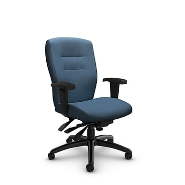 Global® (5081-3 IM75) Synopsis Mid Back Multi Tilter Office Chair, Imprint Ocean Fabric, Blue