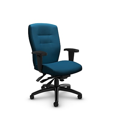 Global® (5081-3 IM76) Synopsis Mid Back Multi Tilter Office Chair, Imprint Navy Fabric, Blue