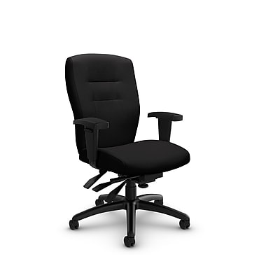 Global® (5081-3 IM84) Synopsis Mid Back Multi Tilter Office Chair, Imprint Licorice Fabric, Black