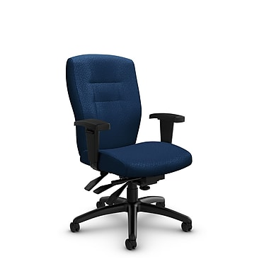 GlobalMD – Chaise de bureau à dossier mi-dos et inclinable Synopsis (5081-3 MT26) tissu assorti vague, bleu