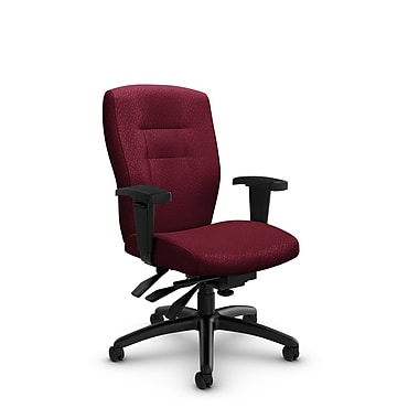 Global® (5081-3 MT29) Synopsis Mid Back Multi Tilter Office Chair, Match Burgundy Fabric, Red