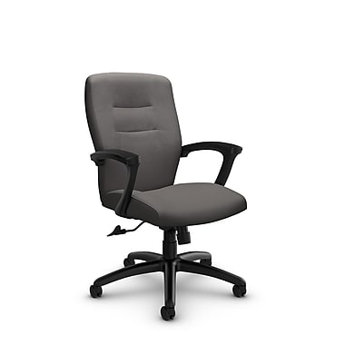 Global® (5091-4 IM82) Synopsis Mid Back Tilter Office Chair, Imprint Graphite Fabric, Grey