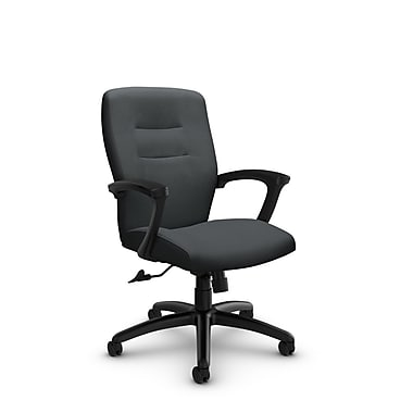 Global® (5091-4 IM83) Synopsis Mid Back Tilter Office Chair, Imprint Slate Fabric, Grey