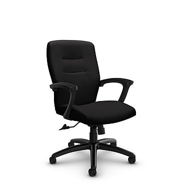 Global® (5091-4 IM84) Synopsis Mid Back Tilter Office Chair, Imprint Licorice Fabric, Black