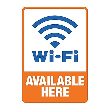 Cosco® Wi-Fi Available Here Adhesive Sign, 5 1/4