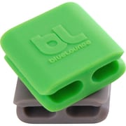 "Bluelounge CableClip, 0.98"", Green/Dark Gray, 6/Pack (CC-SM)"