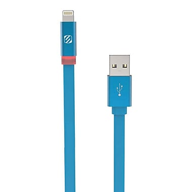 Scosche FlatOut™ LED Charger Cable 6' for Apple iPhone, iPad Mini, iPad Air, Blue (I3FLED6WT)