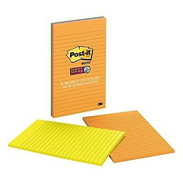 """Post-it® Super Sticky Notes, 5"""" x 8"""", Rio de Janeiro Collection, Lined, 2 Pads/Pack (5845-SS)"""