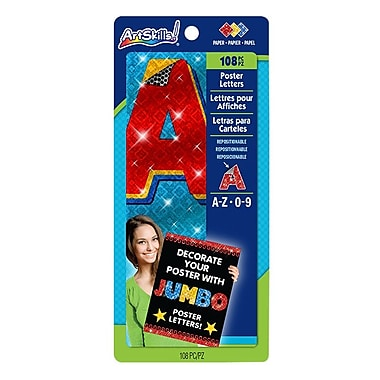ArtSkills® Jumbo Sparkle Quick Letters, Assorted, 4