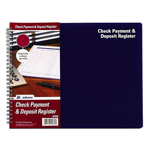 tops check payment and deposit register 8 1 2 x 11 blue afr60