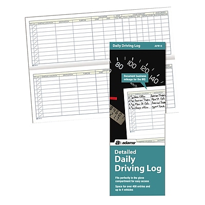 TOPS™ Detailed Driving Log, Daily, 9